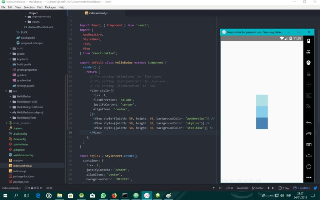 Layout dengan Flexbox pada React Native
