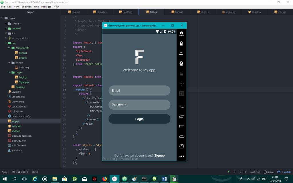 Belajar react native membuat form login dan register