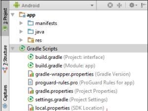 interface dan struktur folder project android studio