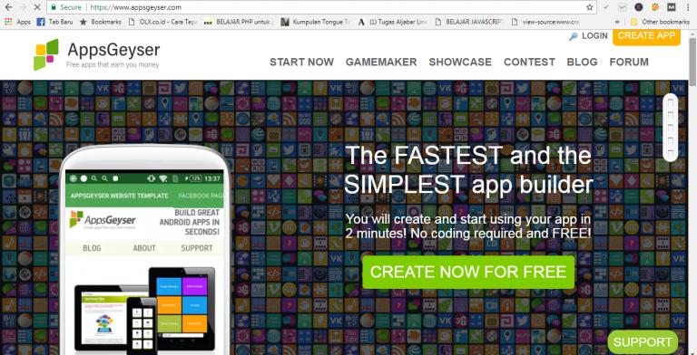 Membuat Aplikasi di AppsGeyser