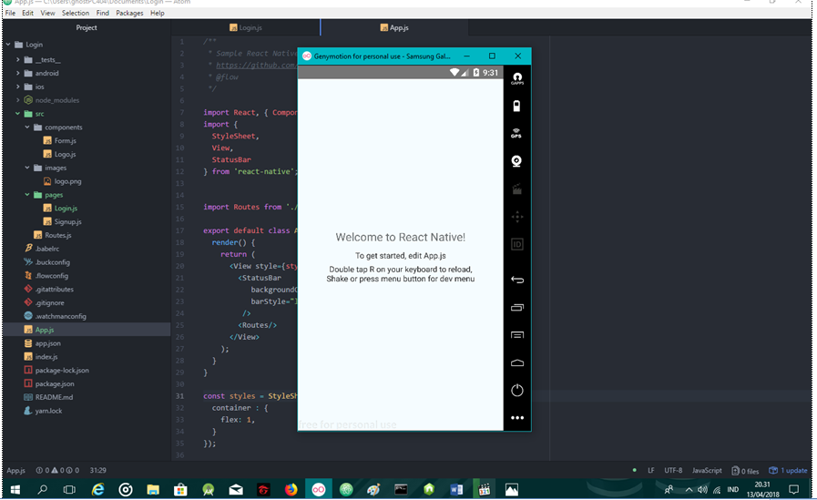 Belajar react native membuat form login dan register