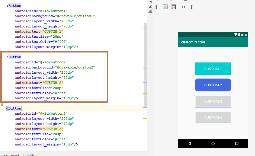 custom button android studio