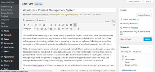kelebihan wordpress lainnya yaitu mudahnya pengaturan konten
