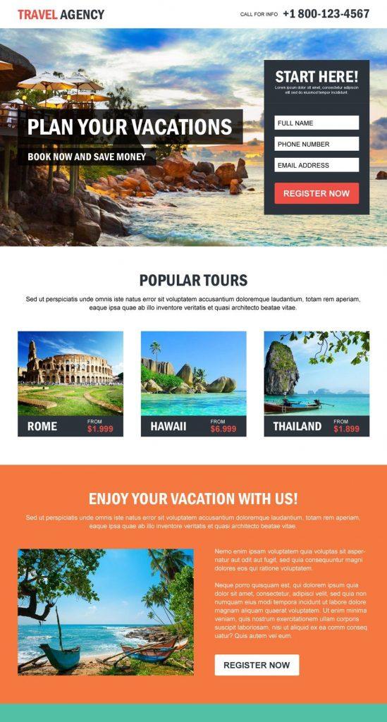 landing page untuk jasa travel